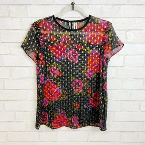 Anthropologie Floral/Gold Beaded Blouse